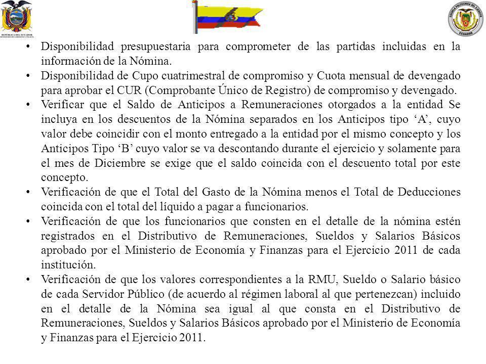 Disponibilidad presupuestaria para comprometer de las partidas incluidas en la información de la Nómina.
