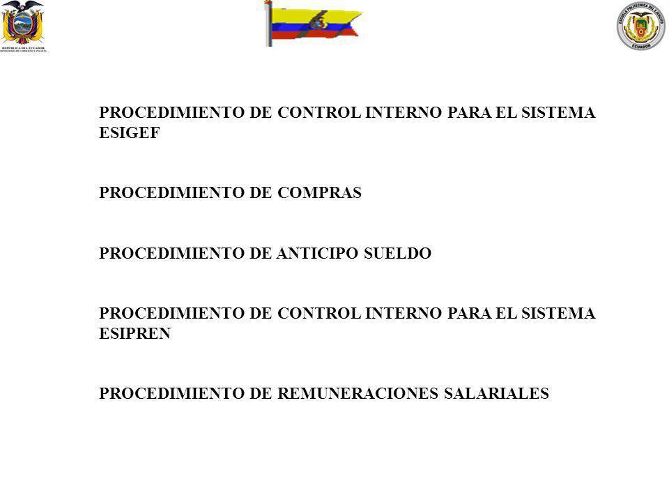 PROCEDIMIENTO DE CONTROL INTERNO PARA EL SISTEMA ESIGEF