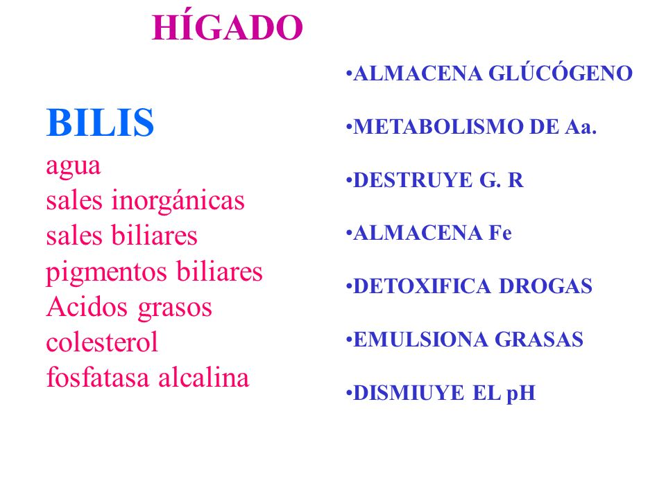 BILIS agua sales inorgánicas sales biliares pigmentos biliares