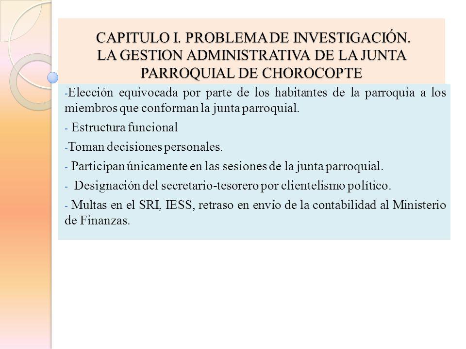 CAPITULO I. PROBLEMA DE INVESTIGACIÓN.