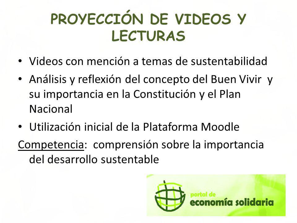 PROYECCIÓN DE VIDEOS Y LECTURAS