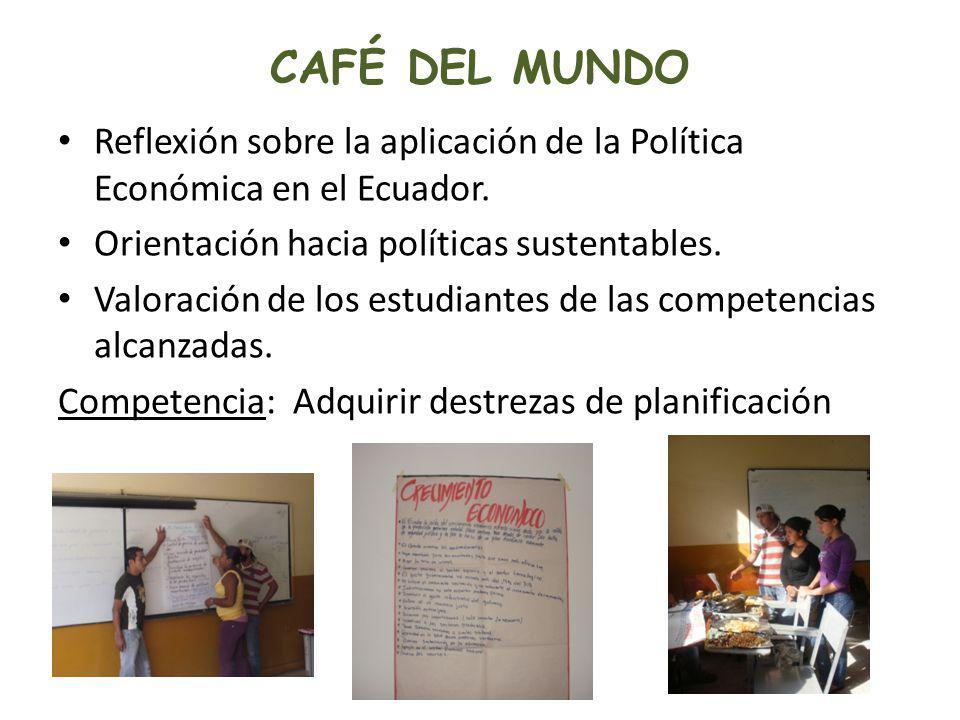 CAFÉ DEL MUNDO Reflexión sobre la aplicación de la Política Económica en el Ecuador. Orientación hacia políticas sustentables.