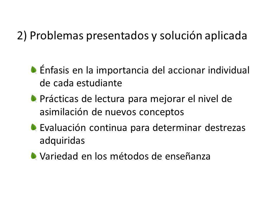 2) Problemas presentados y solución aplicada