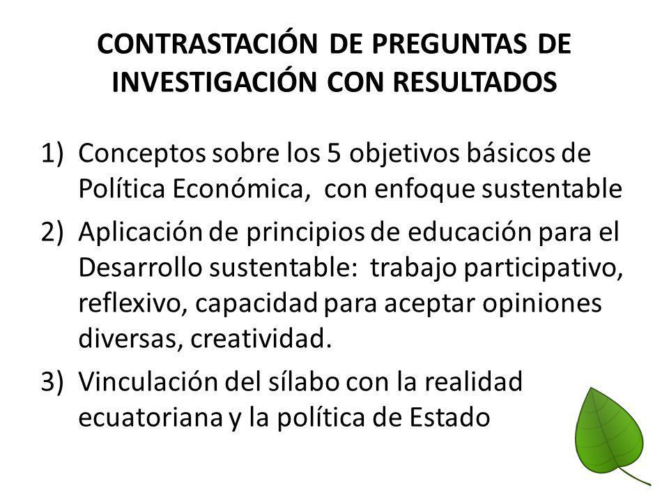 CONTRASTACIÓN DE PREGUNTAS DE INVESTIGACIÓN CON RESULTADOS