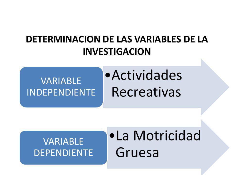 DETERMINACION DE LAS VARIABLES DE LA INVESTIGACION