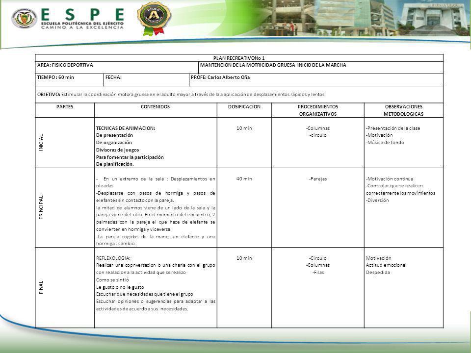 PLAN RECREATIVONo 1 AREA: FISICO DEPORTIVA. MANTENCION DE LA MOTRICIDAD GRUESA INICIO DE LA MARCHA.