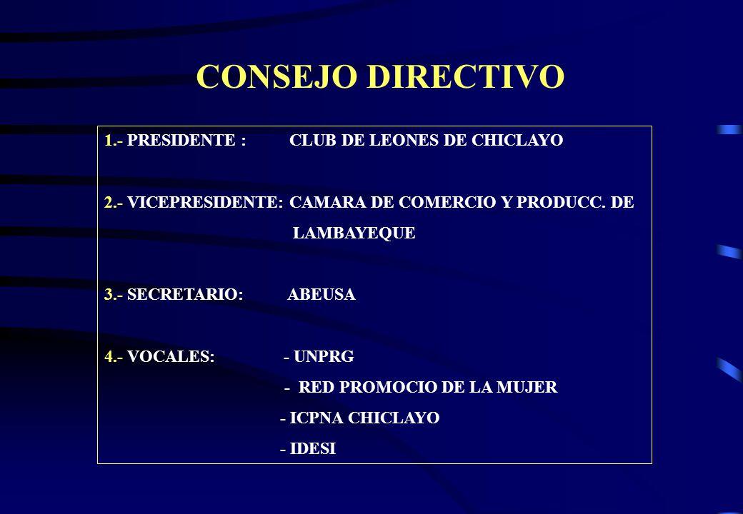 CONSEJO DIRECTIVO 1.- PRESIDENTE : CLUB DE LEONES DE CHICLAYO