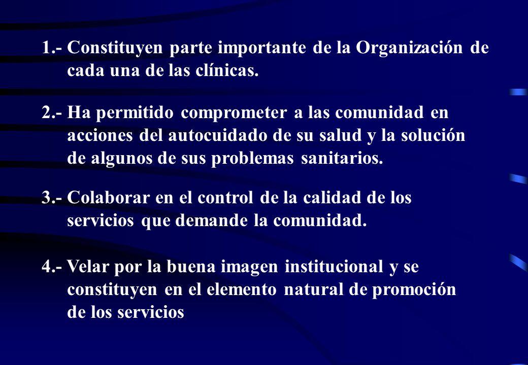 1.- Constituyen parte importante de la Organización de cada una de las clínicas.
