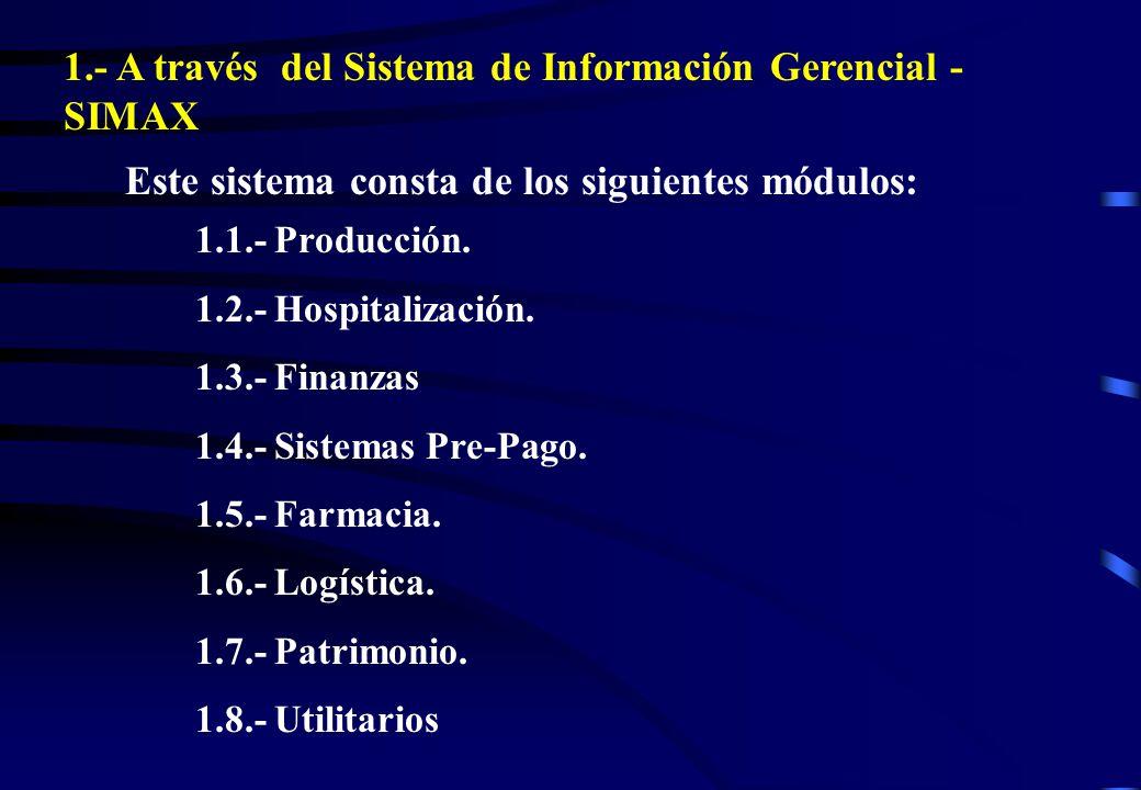 1.- A través del Sistema de Información Gerencial - SIMAX