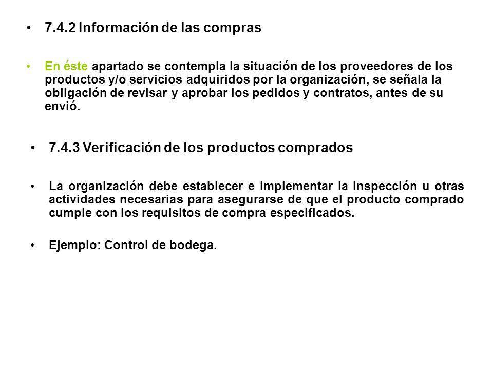 7.4.2 Información de las compras
