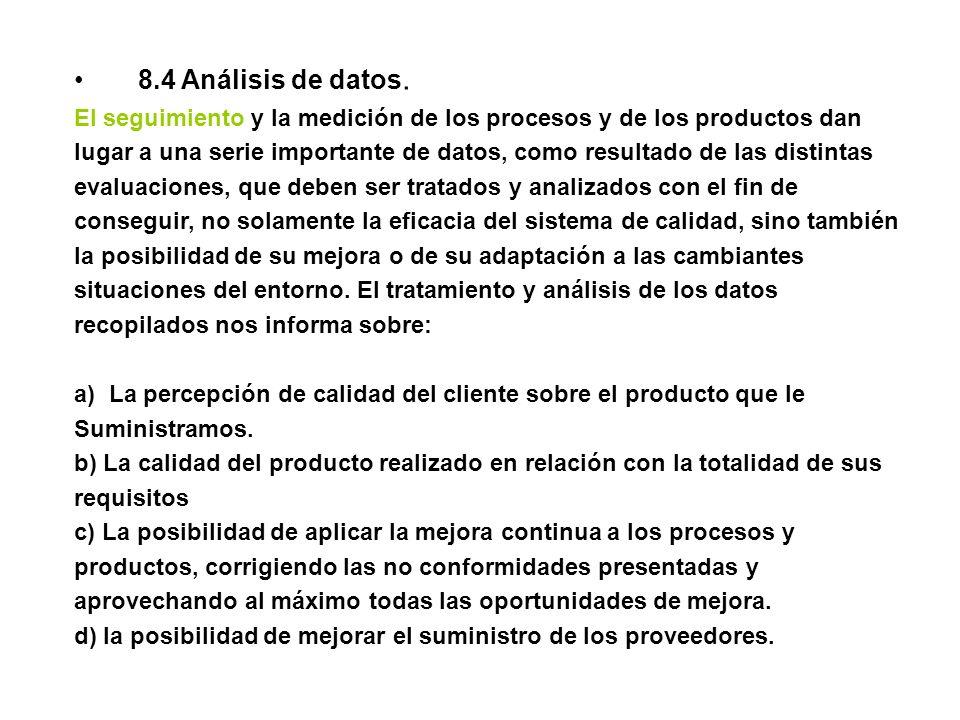 8.4 Análisis de datos. El seguimiento y la medición de los procesos y de los productos dan.