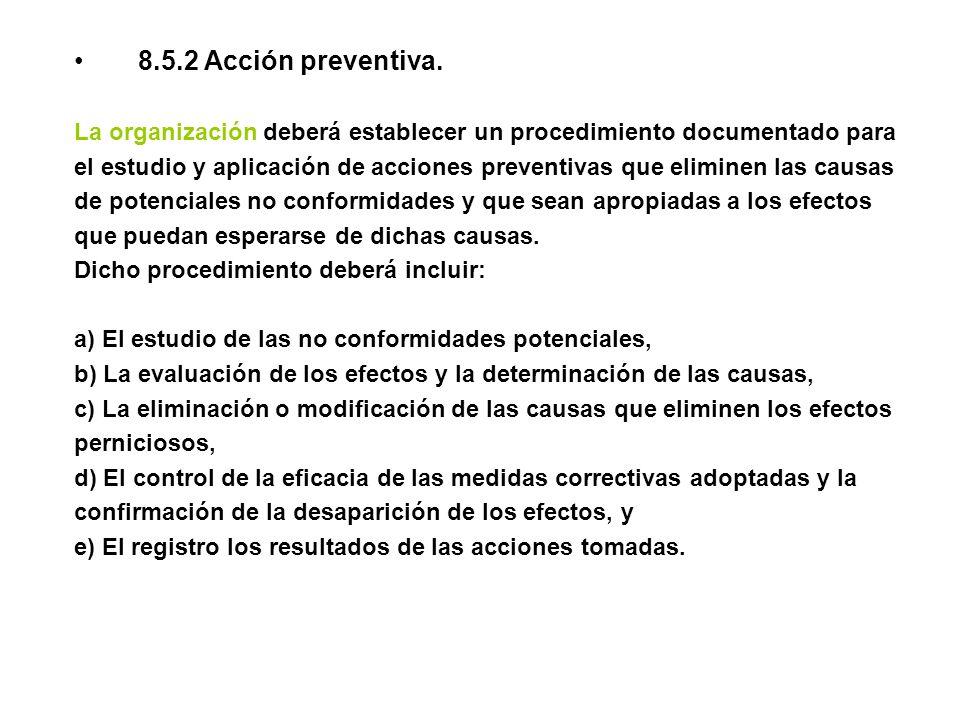 8.5.2 Acción preventiva. La organización deberá establecer un procedimiento documentado para.
