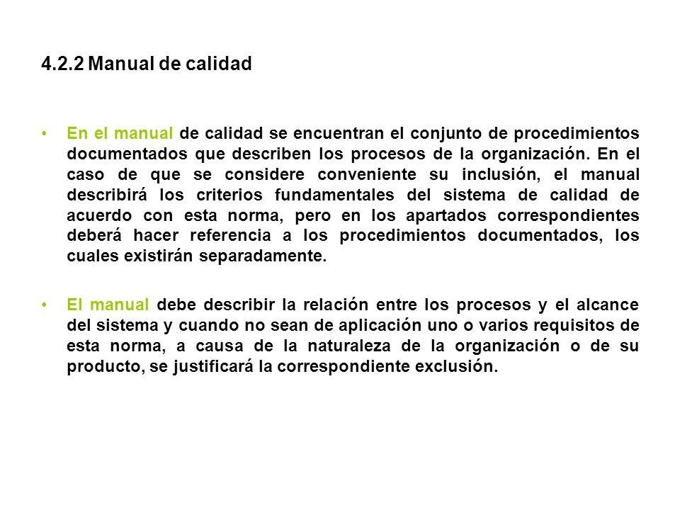 4.2.2 Manual de calidad