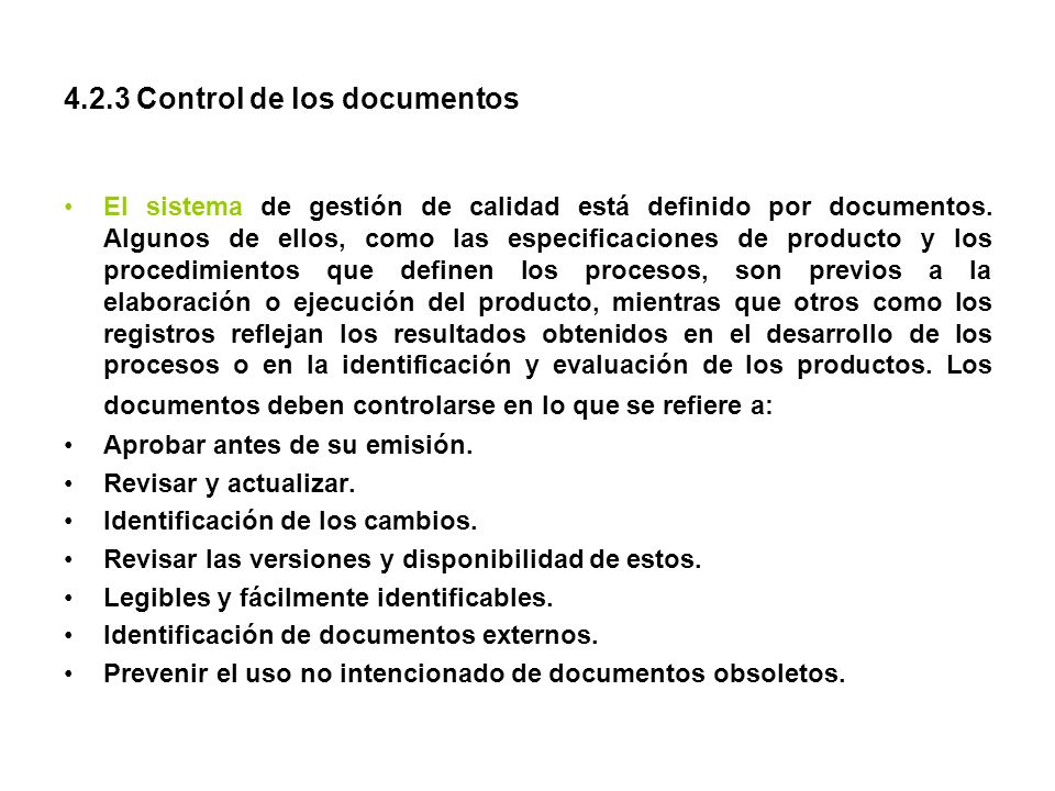 4.2.3 Control de los documentos