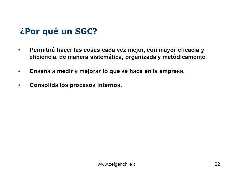¿Por qué un SGC Permitirá hacer las cosas cada vez mejor, con mayor eficacia y. eficiencia, de manera sistemática, organizada y metódicamente.
