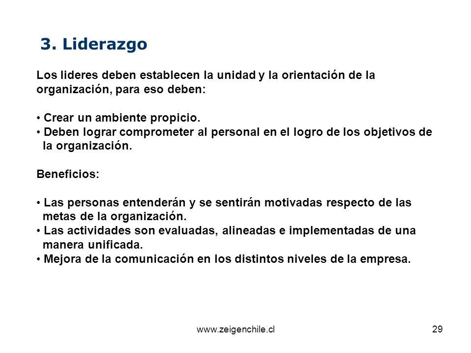 3. Liderazgo Los lideres deben establecen la unidad y la orientación de la organización, para eso deben:
