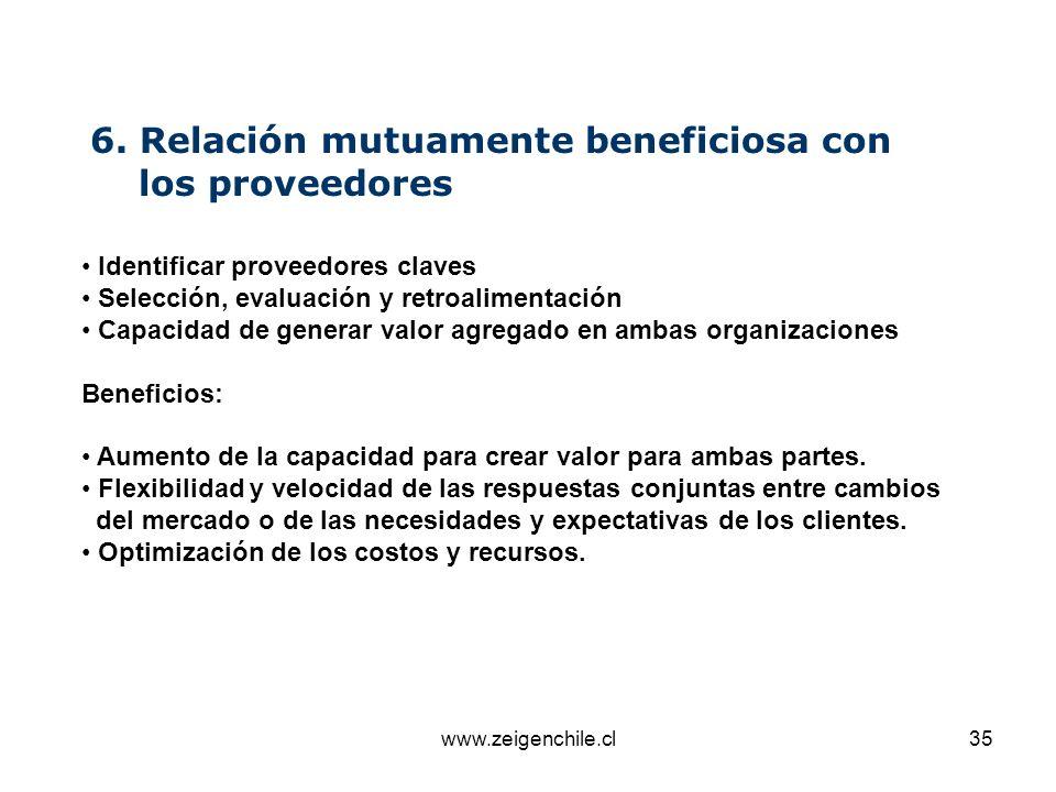 6. Relación mutuamente beneficiosa con los proveedores