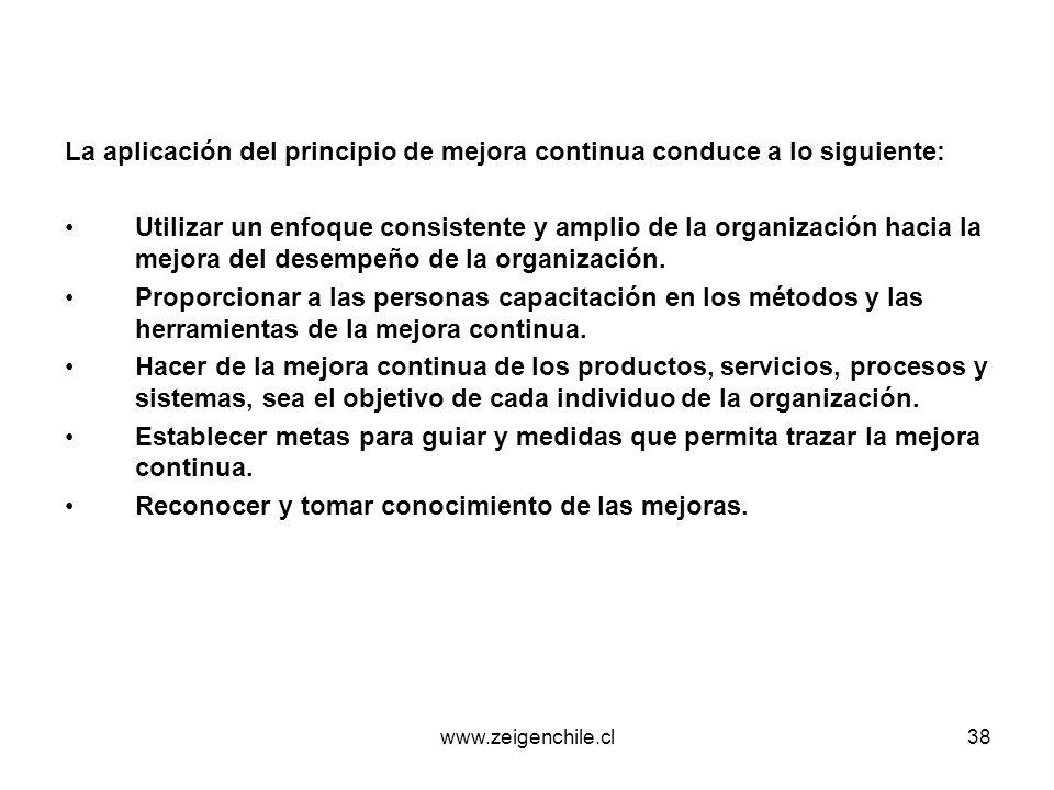 La aplicación del principio de mejora continua conduce a lo siguiente: