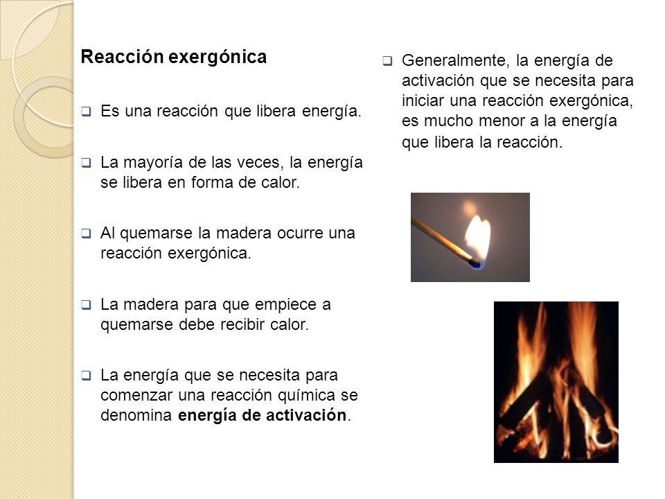 Reacción exergónica Es una reacción que libera energía. La mayoría de las veces, la energía se libera en forma de calor.