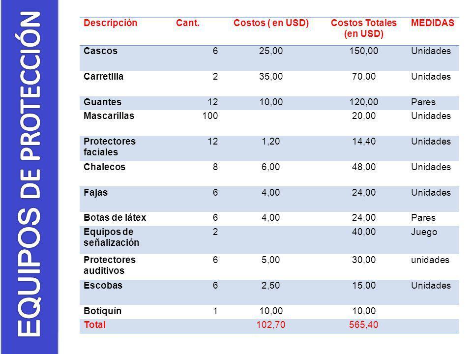 Costos Totales (en USD)