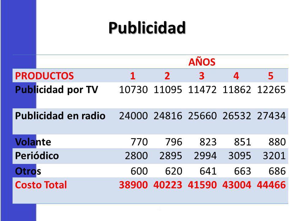 Publicidad AÑOS PRODUCTOS 1 2 3 4 5 Publicidad por TV 10730 11095