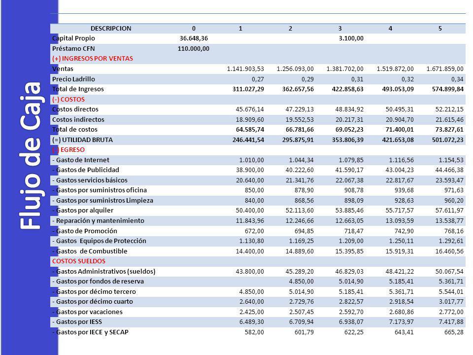 Flujo de Caja DESCRIPCION 1 2 3 4 5 Capital Propio 36.648,36 3.100,00