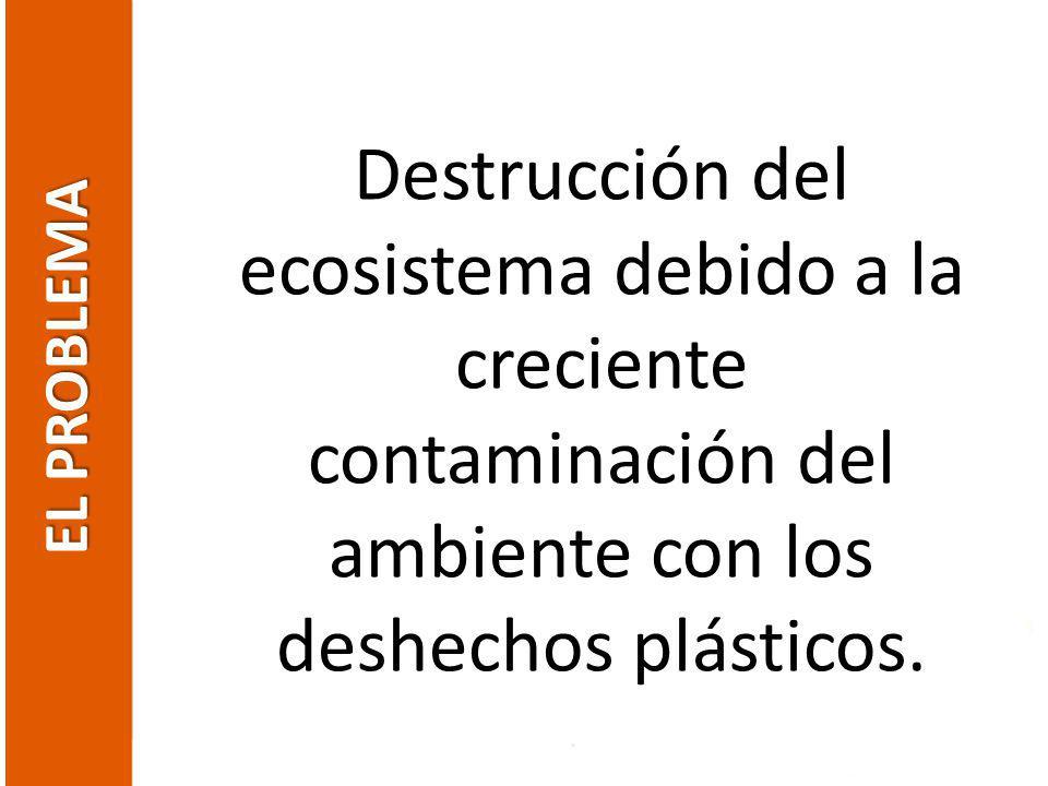 Destrucción del ecosistema debido a la creciente contaminación del ambiente con los deshechos plásticos.