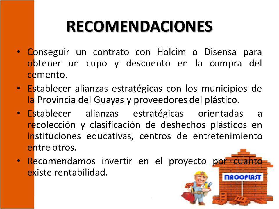 RECOMENDACIONES Conseguir un contrato con Holcim o Disensa para obtener un cupo y descuento en la compra del cemento.