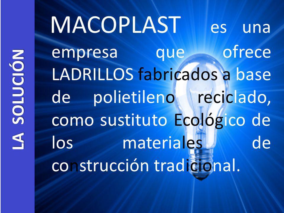 MACOPLAST es una empresa que ofrece LADRILLOS fabricados a base de polietileno reciclado, como sustituto Ecológico de los materiales de construcción tradicional.