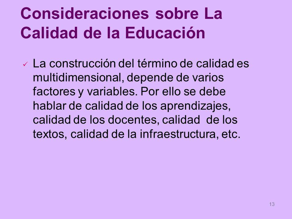 Consideraciones sobre La Calidad de la Educación