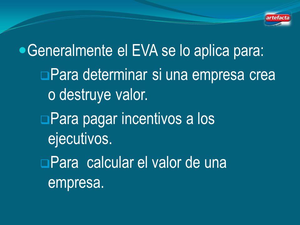 Generalmente el EVA se lo aplica para: