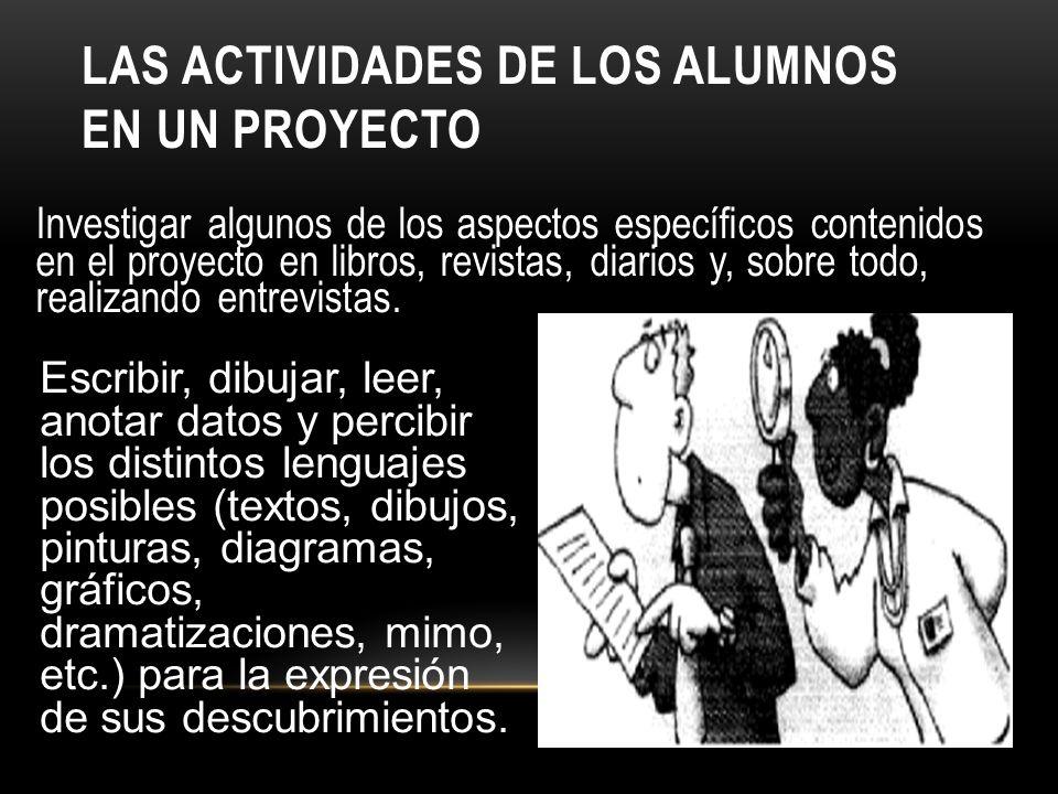 Las actividades de los alumnos en un proyecto