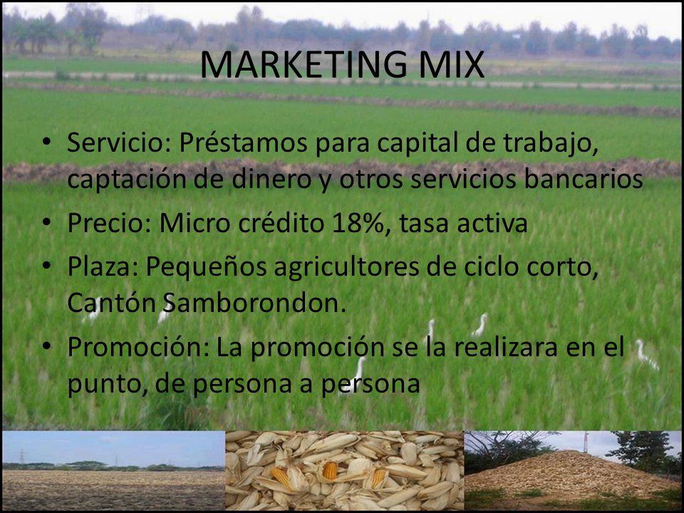 MARKETING MIX Servicio: Préstamos para capital de trabajo, captación de dinero y otros servicios bancarios.