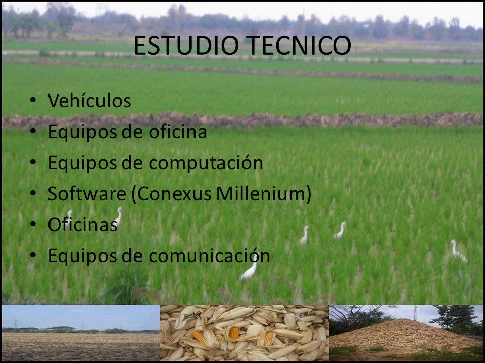 ESTUDIO TECNICO Vehículos Equipos de oficina Equipos de computación