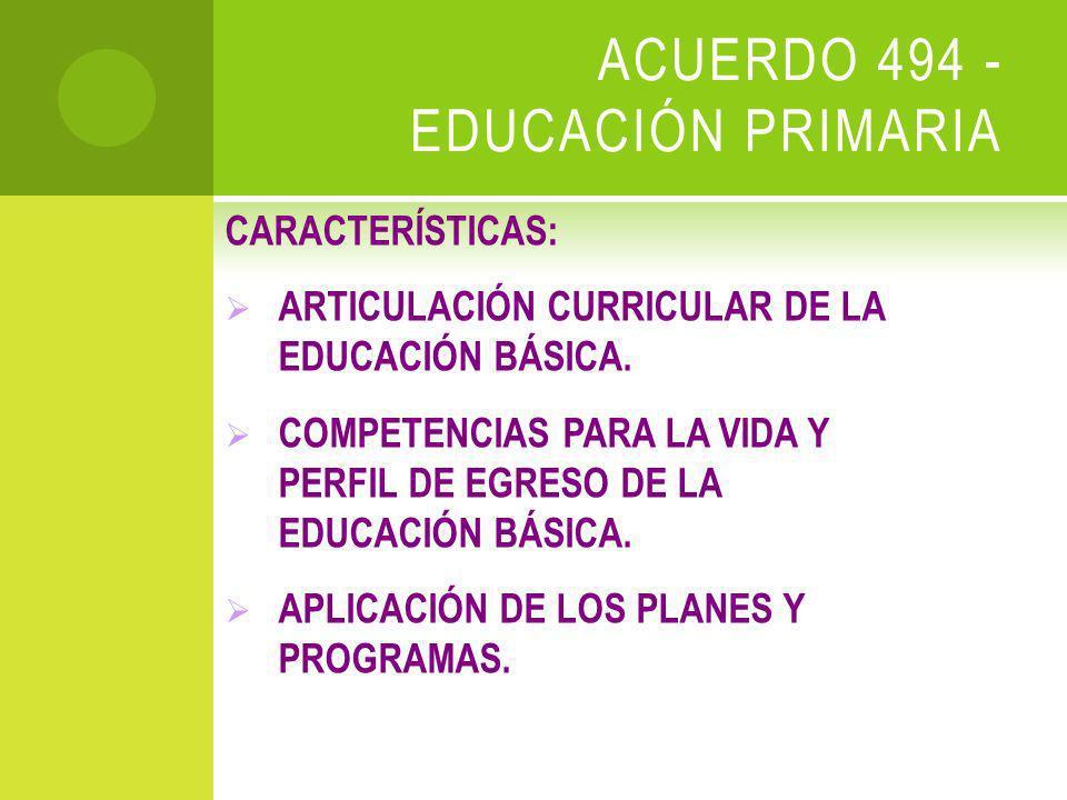 ACUERDO 494 - EDUCACIÓN PRIMARIA