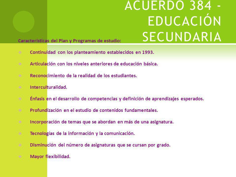 ACUERDO 384 - EDUCACIÓN SECUNDARIA