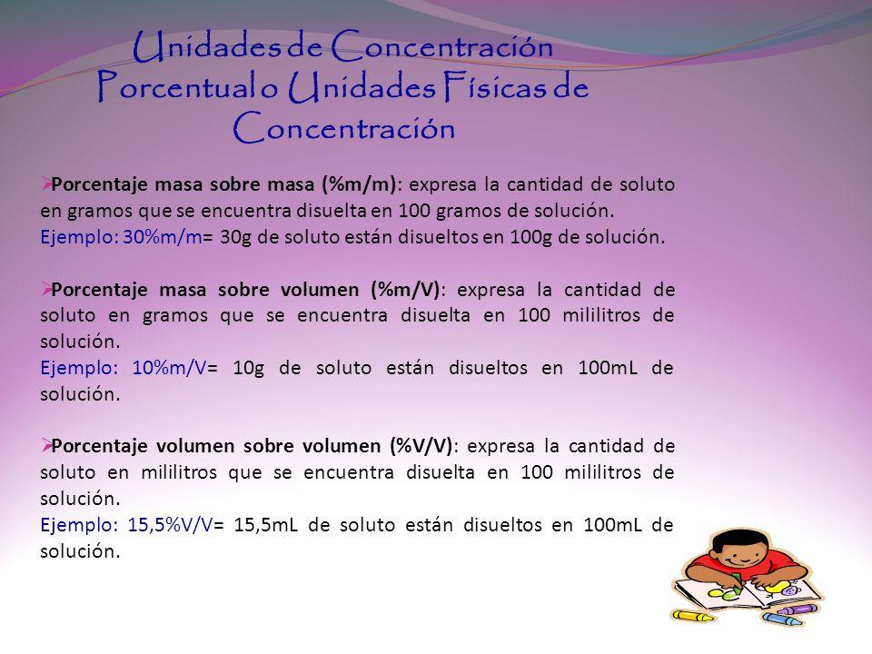 Unidades de Concentración Porcentual o Unidades Físicas de Concentración