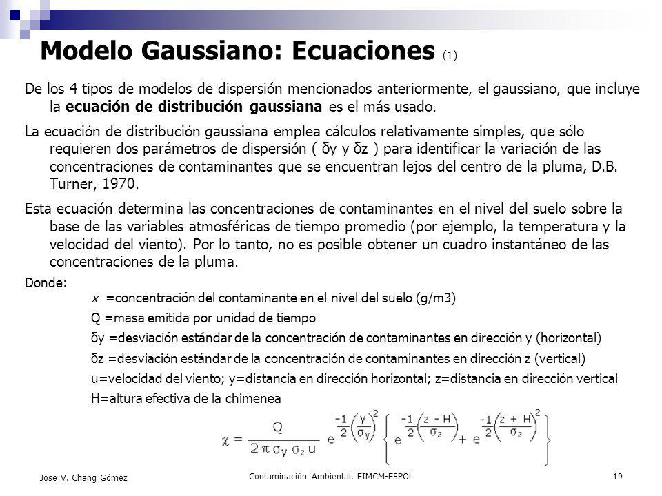 Modelo Gaussiano: Ecuaciones (1)