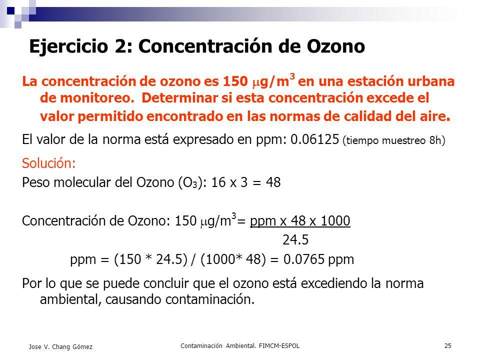 Ejercicio 2: Concentración de Ozono