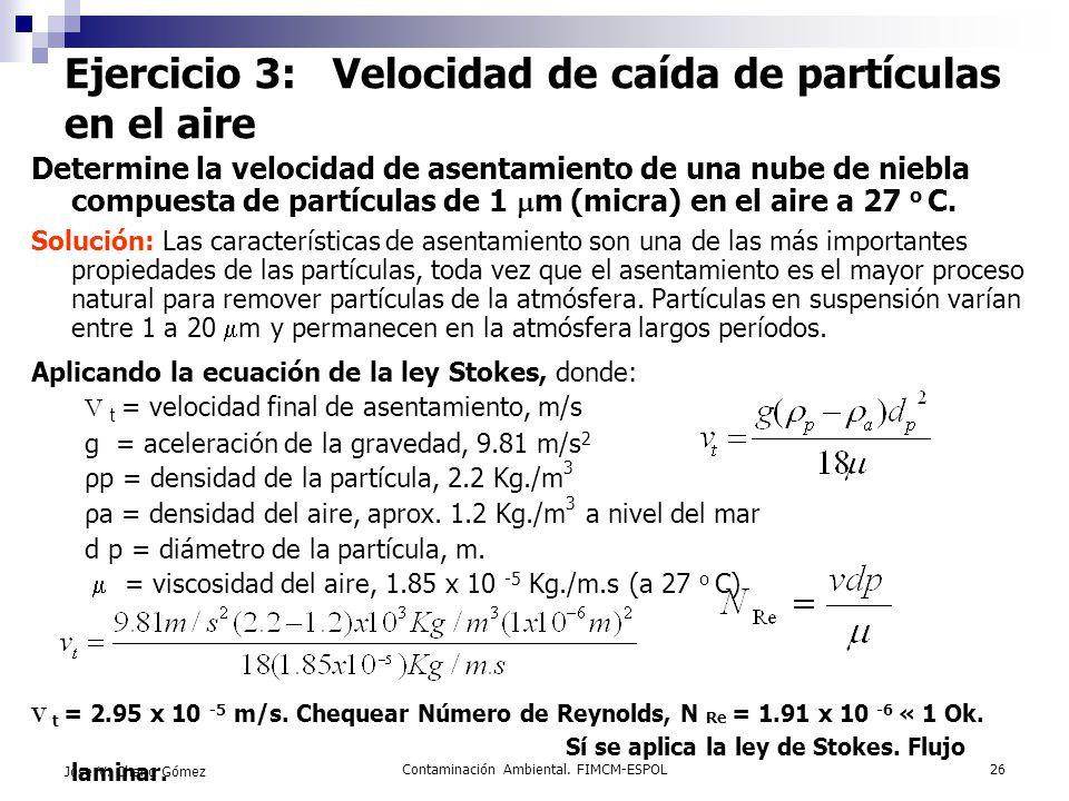 Ejercicio 3: Velocidad de caída de partículas en el aire