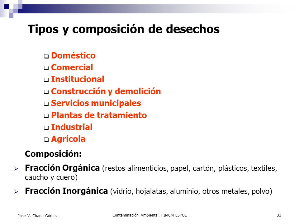 Tipos y composición de desechos