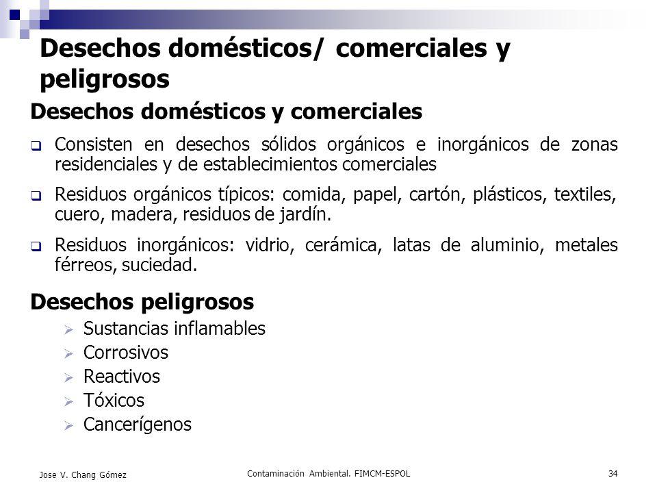 Desechos domésticos/ comerciales y peligrosos