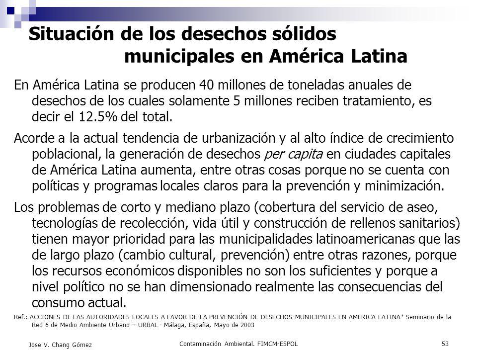 Situación de los desechos sólidos municipales en América Latina