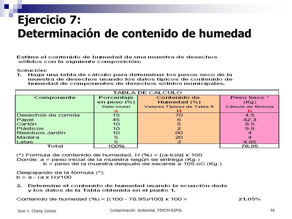 Ejercicio 7: Determinación de contenido de humedad