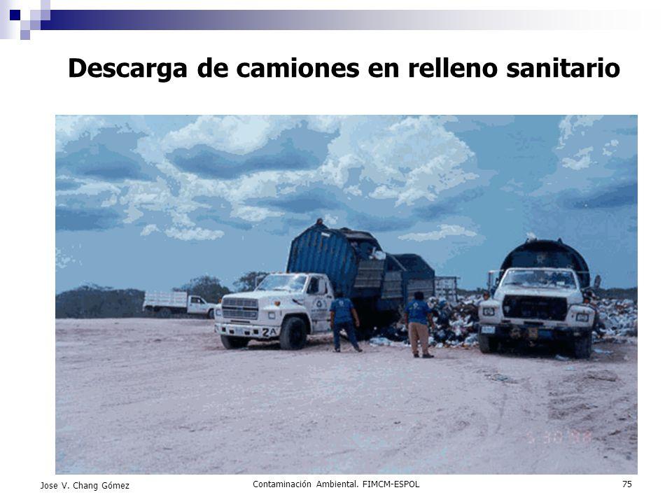 Descarga de camiones en relleno sanitario