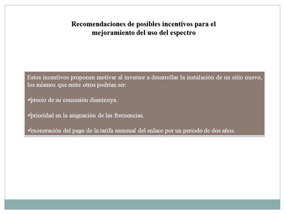 Recomendaciones de posibles incentivos para el mejoramiento del uso del espectro