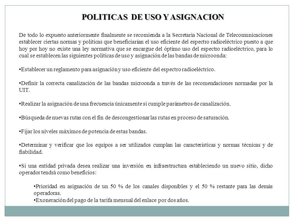 POLITICAS DE USO Y ASIGNACION