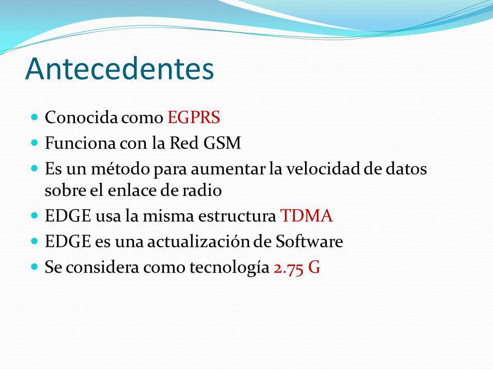 Antecedentes Conocida como EGPRS Funciona con la Red GSM