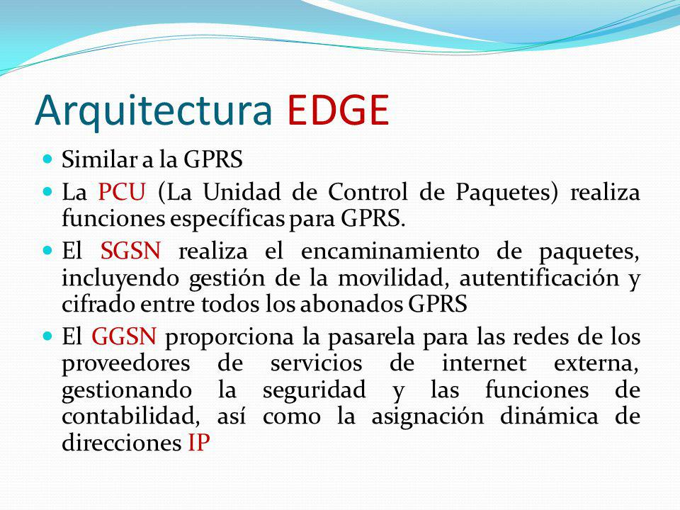 Arquitectura EDGE Similar a la GPRS