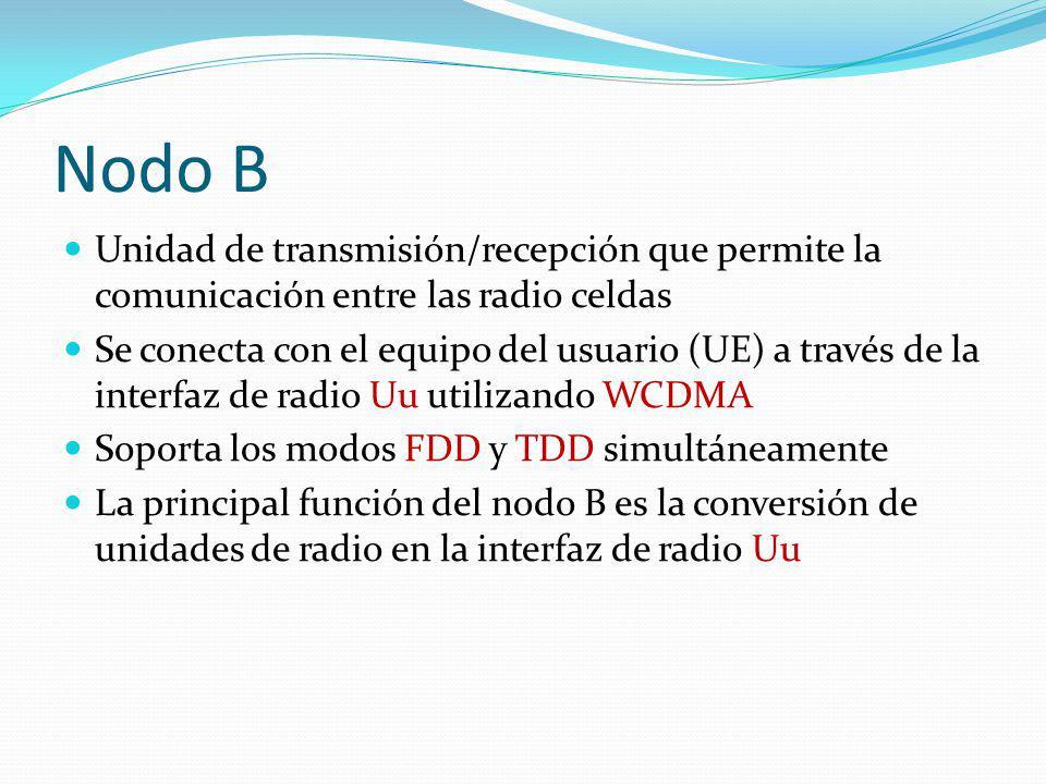 Nodo B Unidad de transmisión/recepción que permite la comunicación entre las radio celdas.